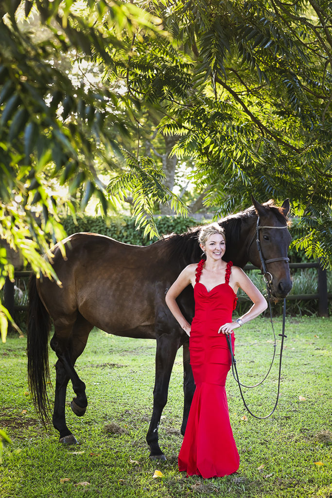 Lady in Red Dress with her Horse