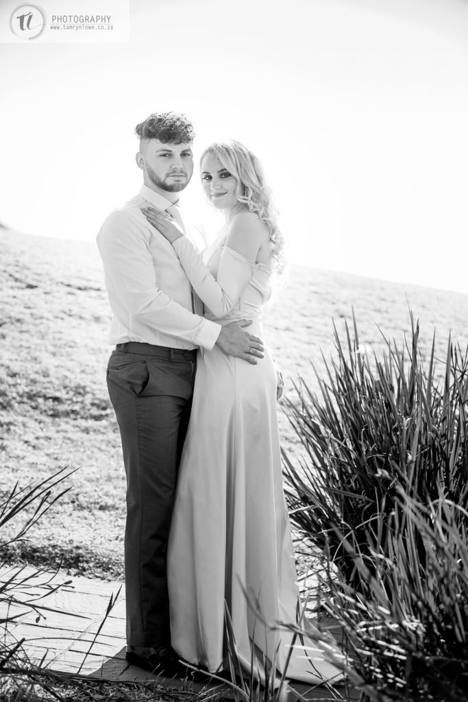 black and white picture of couple in formal matric dance attire