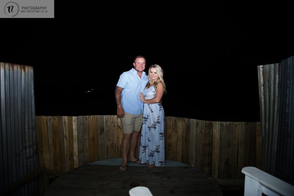 Night Photograph of newly engaged couple