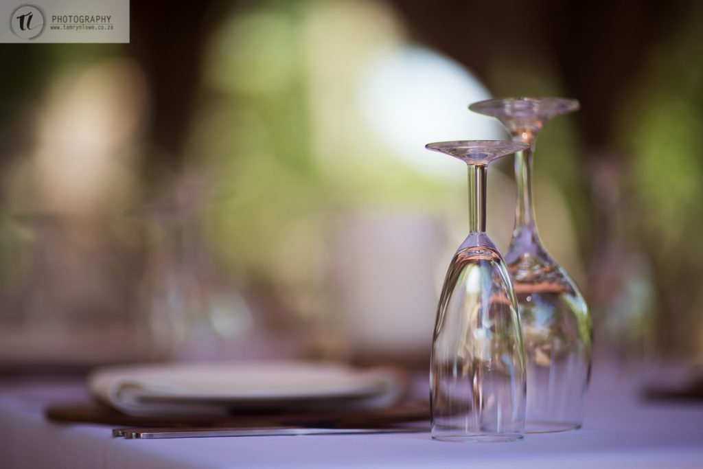 Champagne & Wine glass on table