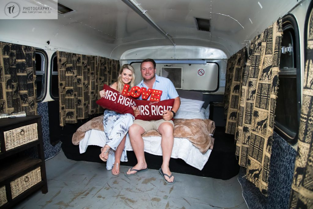 Engaged Couple in Refurbished Bus