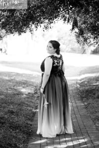 Alex in ombre matric dance dress in Black and White